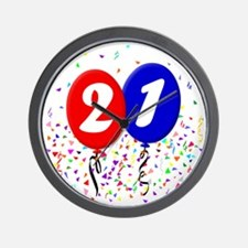 21bdayballoon Wall Clock