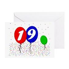 19bdayballoon3x4 Greeting Card