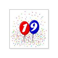 "19bdayballoonbtn Square Sticker 3"" x 3"""