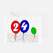 24bdayballoon3x4 Greeting Card