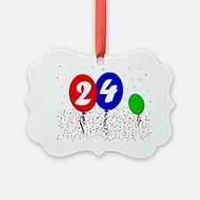 24bdayballoon3x4 Ornament