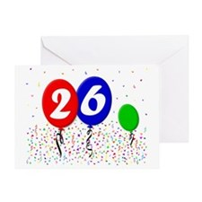26bdayballoon3x4 Greeting Card