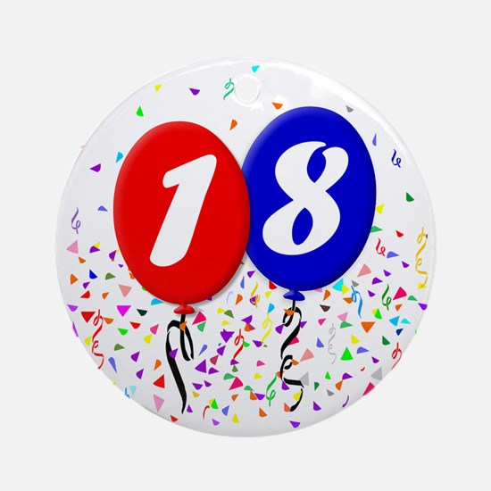 18bdayballoon Round Ornament