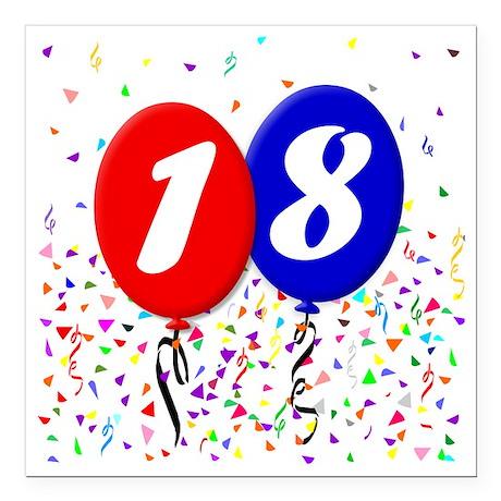 "18bdayballoon Square Car Magnet 3"" x 3"""
