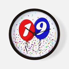 19bdayballoon Wall Clock