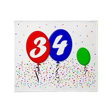 34bdayballoon3x4 Throw Blanket