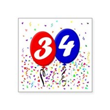 "34bdayballoon Square Sticker 3"" x 3"""
