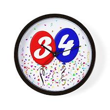 34bdayballoon Wall Clock