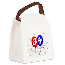 34bdayballoonbtn Canvas Lunch Bag
