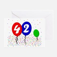 42bdayballoon3x4 Greeting Card