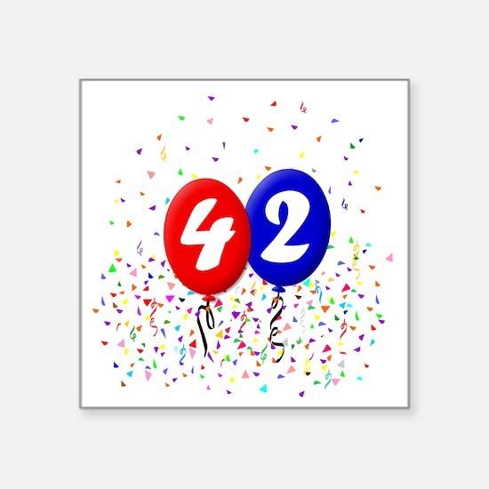 "42bdayballoonbtn Square Sticker 3"" x 3"""