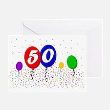 50bdayballoon2x3 Greeting Card