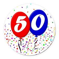 50bdayballoon Round Car Magnet