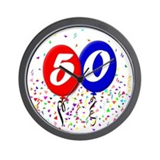 50bdayballoon Wall Clock