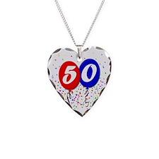 50bdayballoon Necklace Heart Charm