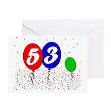 53bdayballoon3x4 Greeting Card