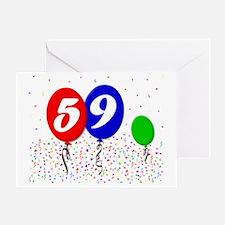 59bdayballoon3x4 Greeting Card