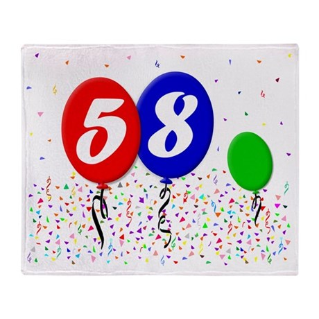 58bdayballoon3x4 Throw Blanket
