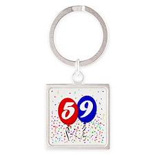 59bdayballoon Square Keychain