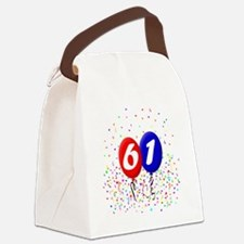 61bdayballoonbtn Canvas Lunch Bag