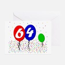 64bdayballoon3x4 Greeting Card