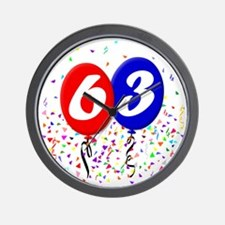 63bdayballoon Wall Clock