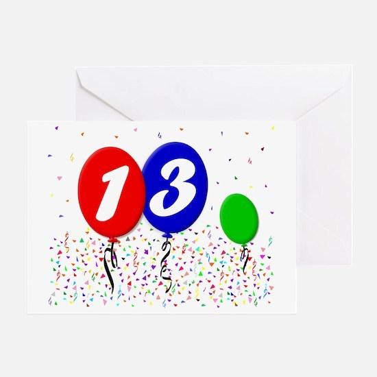 13bdayballoon3x4 Greeting Card