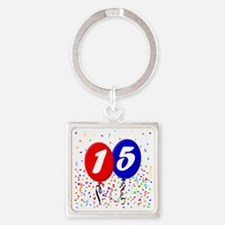 15bdayballoon Square Keychain