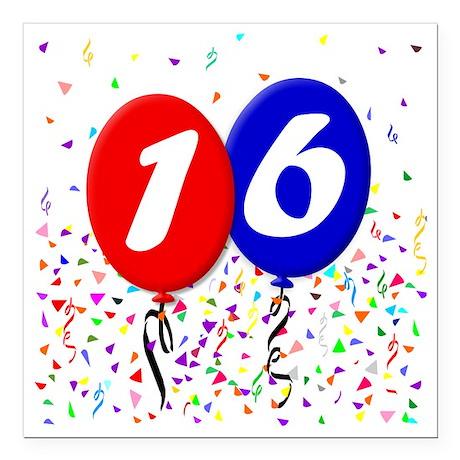 "16bdayballoon Square Car Magnet 3"" x 3"""