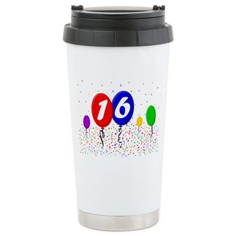 16bdayballoon2x3 Stainless Steel Travel Mug