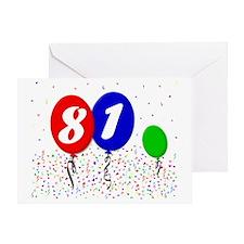 81bdayballoon3x4 Greeting Card