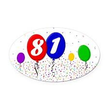 81bdayballoon2x3 Oval Car Magnet