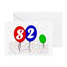 82bdayballoon3x4 Greeting Card