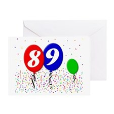 89bdayballoon3x4 Greeting Card