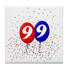 99bdayballoonbtn Tile Coaster