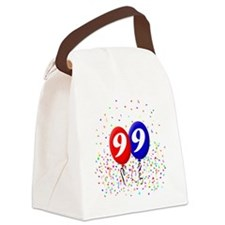 99bdayballoonbtn Canvas Lunch Bag