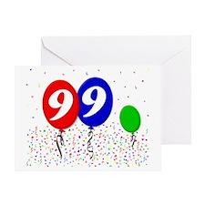 99bdayballoon3x4 Greeting Card
