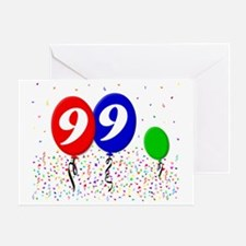 99bdayballoon3x4 Greeting Card