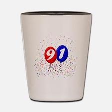 91bdayballoonbtn Shot Glass