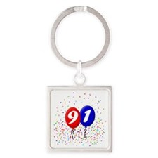 91bdayballoonbtn Square Keychain