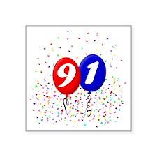 "91bdayballoonbtn Square Sticker 3"" x 3"""