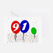 91bdayballoon3x4 Greeting Card