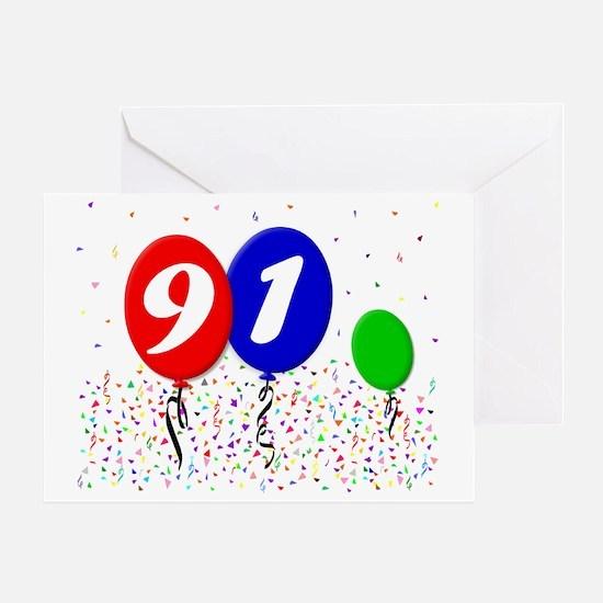 91bdayballoon3x4 Greeting Card