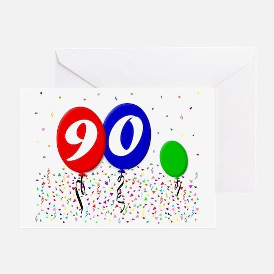 90bdayballoon3x4 Greeting Card