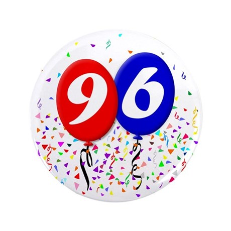 """96bdayballoon 3.5"""" Button"""