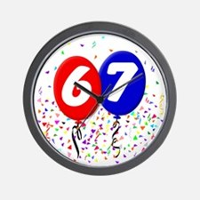 67_bdayballoon Wall Clock