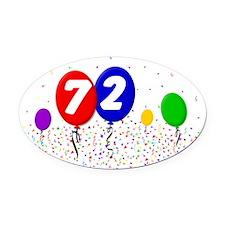 72_bdayballoon2x3 Oval Car Magnet