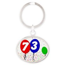 73_bdayballoon3x4 Oval Keychain