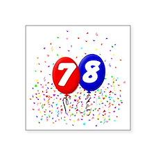 "78_bdayballoonbtn Square Sticker 3"" x 3"""