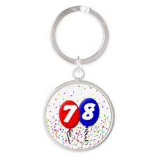 78_bdayballoonbtn Round Keychain